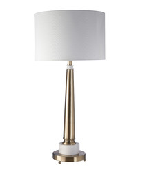 Brass-tone iron & marble table lamp