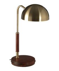 Brass-tone iron & wood table lamp