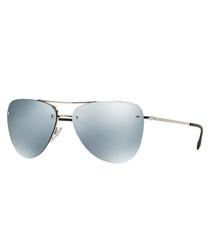 silver-tone & green pilot sunglasses