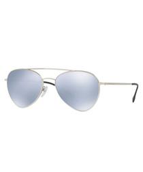 silver-tone mirror pilot sunglasses