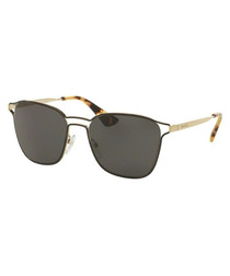Black & gold-tone D-frame sunglasses