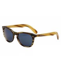Brown & blue D-frame sunglasses