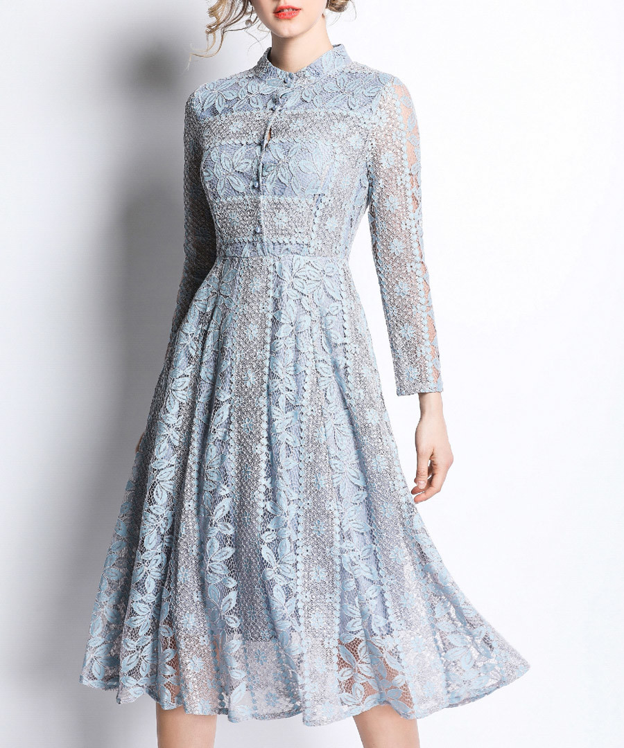 Light blue fit & flare midi dress Sale - kaimilan