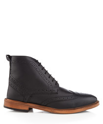 Boston black perforated ankle boots