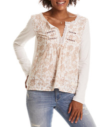 Lacey Garden chalk pure cotton top