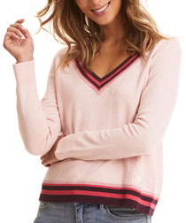 Vavavoom rose pure cotton V-neck jumper