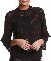 Layer Cake black cotton blend top