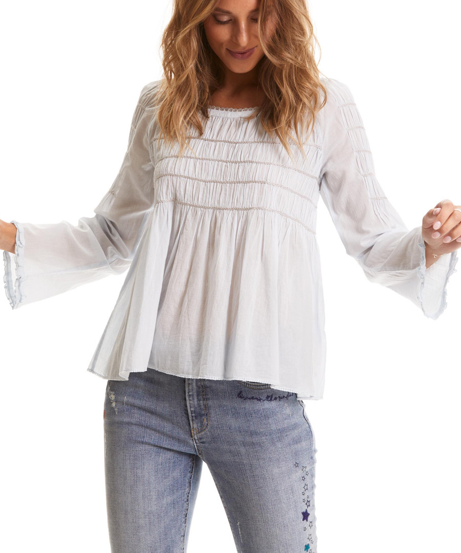 Good Vibes Only blue pure cotton blouse Sale - odd molly