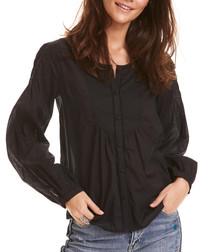 Magic Space black pure cotton blouse