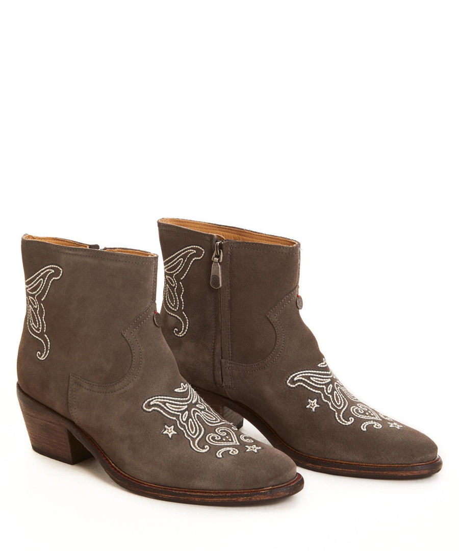 Crusade Low taupe embroidery suede boots Sale - Odd Molly