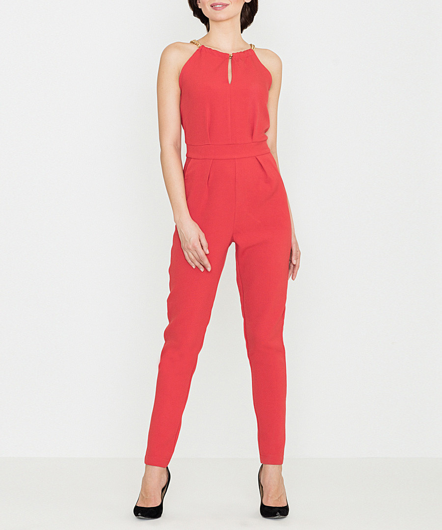Red halterneck necklace jumpsuit Sale - lenitif