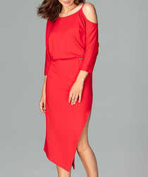 Red asymmetrical split cape dress