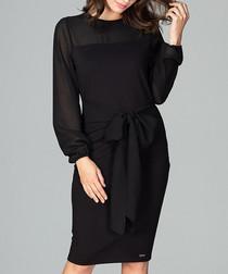 Black waist-tie long sleeve dress