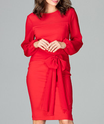 Red waist-tie long sleeve dress