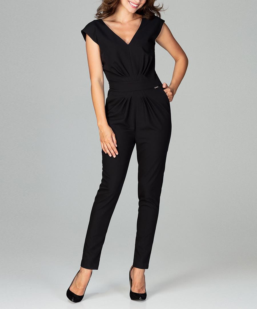 black V-neck jumpsuit Sale - lenitif