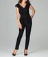 black V-neck jumpsuit Sale - lenitif Sale