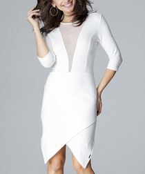 white asymmetric mesh insert dress