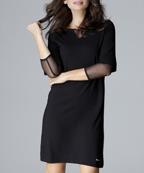 Visiting black sheer detail shirt dress