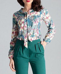 Aqua & fuchsia floral collage blouse