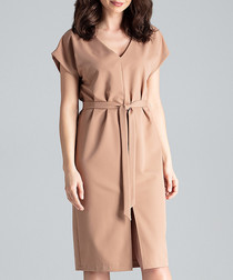 Tan waist-tie V-neck dress