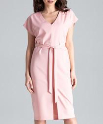 Pale pink waist-tie V-neck dress