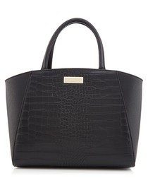 Elder black moc-croc grab bag