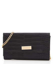 Favour black chain strap moc-croc clutch