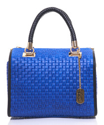 Viola blue leather grab bag