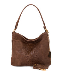 Linda brown leather grab bag