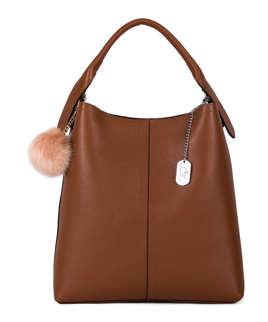 Callida I brown leather grab bag Sale - anna morellini