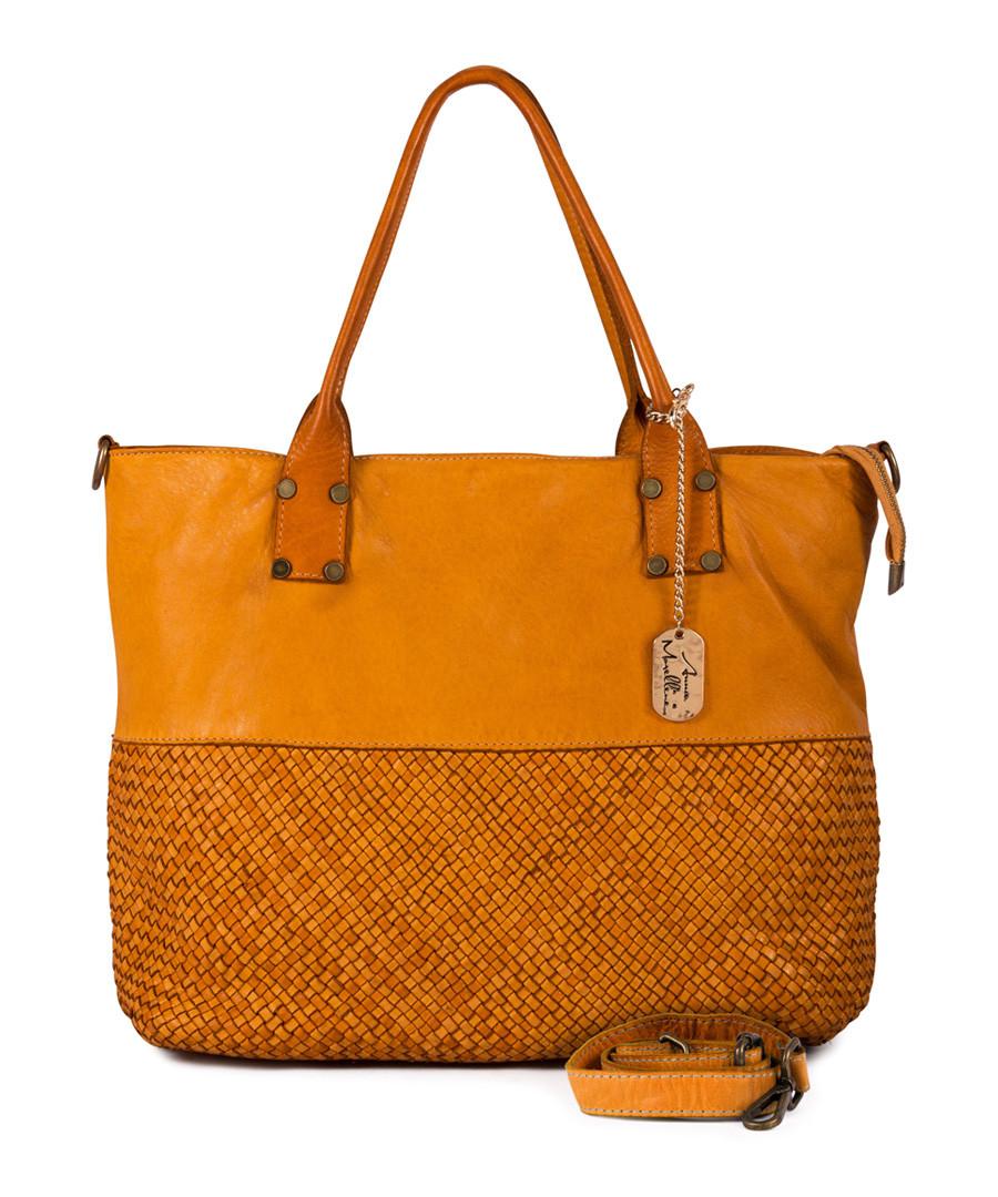 Milena ochre leather shopper bag Sale - anna morellini
