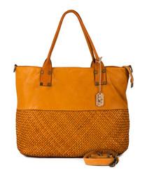 Milena ochre leather shopper bag