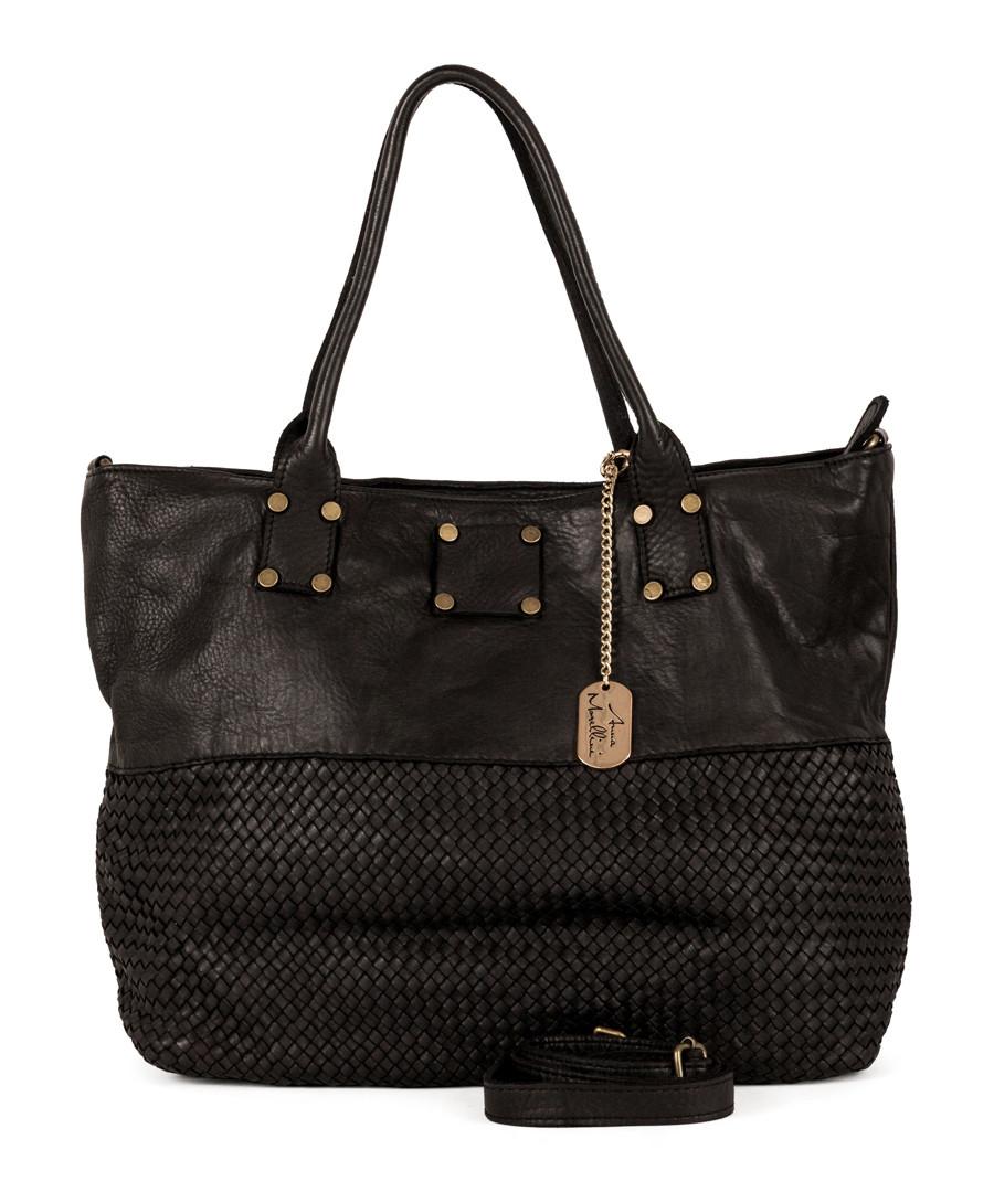 Milena black leather shopper bag Sale - anna morellini