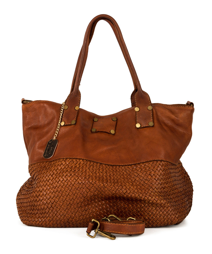 Milena brown leather shopper bag Sale - anna morellini