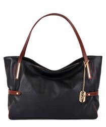 Colia black leather shopper bag