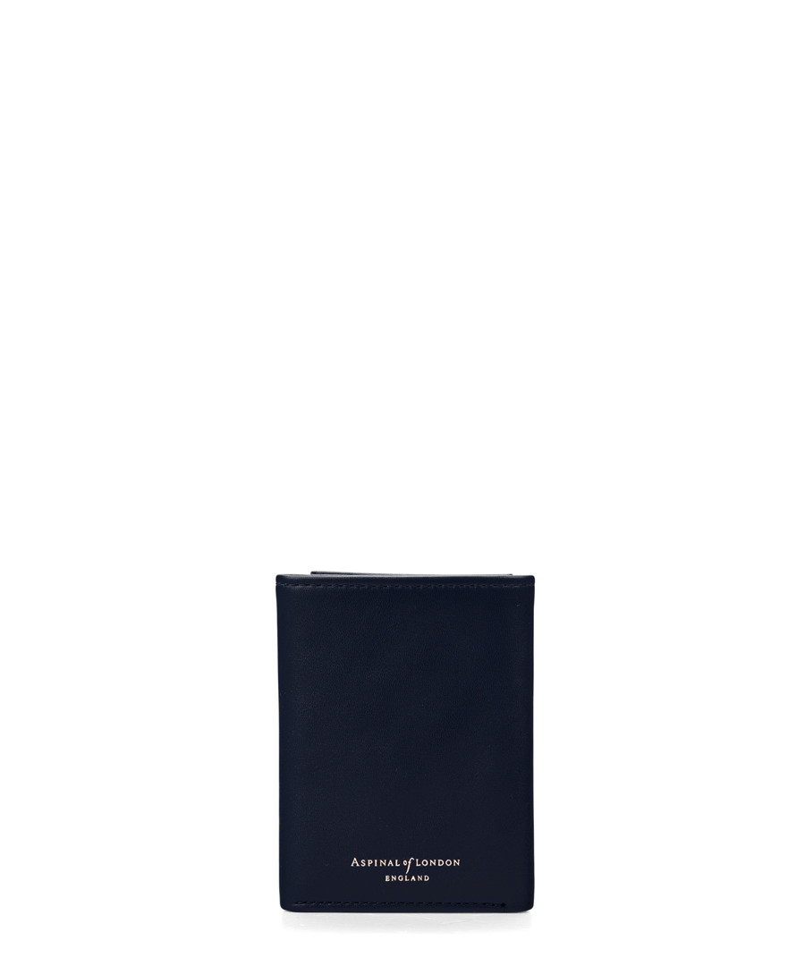Navy leather trifold wallet Sale - Aspinal Of London