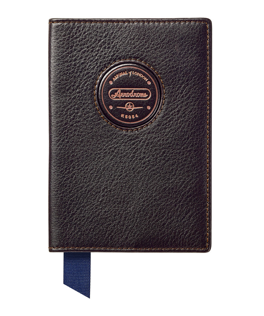 Aerodrome walnut leather passport cover Sale - Aspinal Of London
