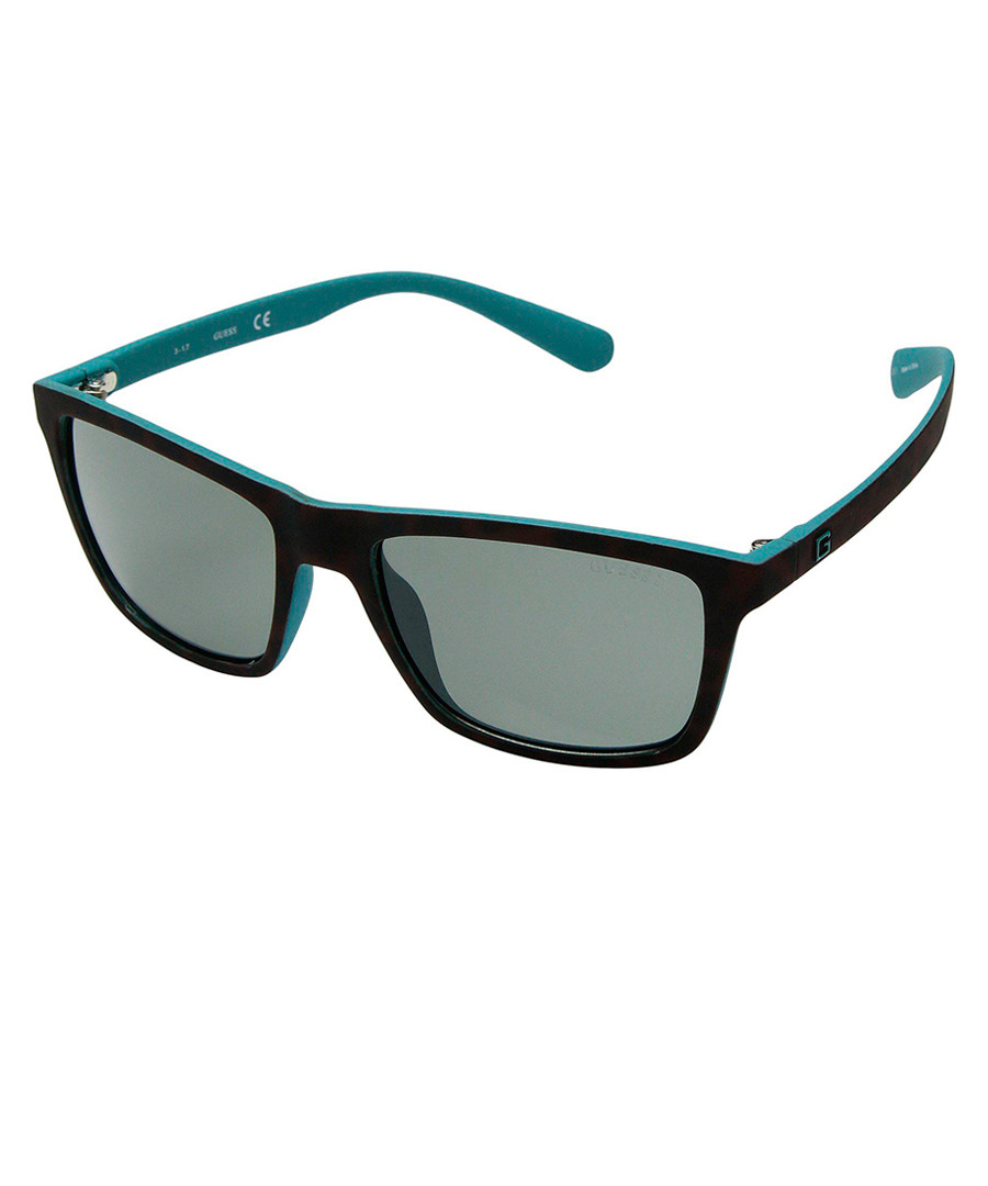Black & teal rectangle sunglasses Sale - guess