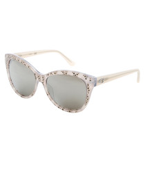 cream bubble rounded D-frame sunglasses