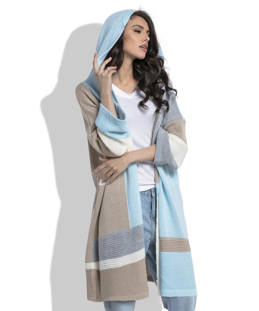 Blue & beige wool blend cardigan Sale - fobya