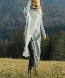 Grey high-neck longline jumper