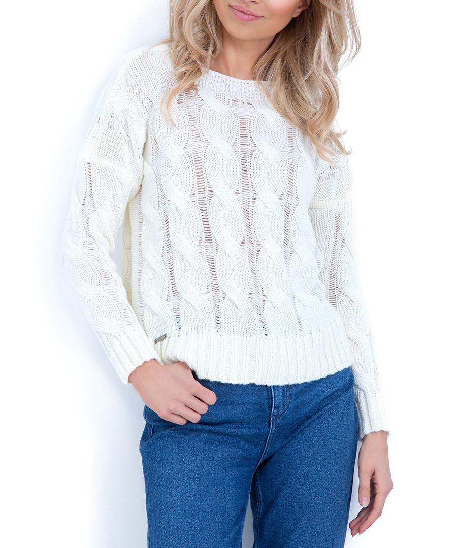 Ecru wool blend cable knit jumper Sale - fobya