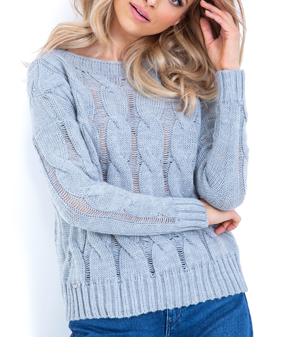Grey wool blend cable knit jumper Sale - fobya