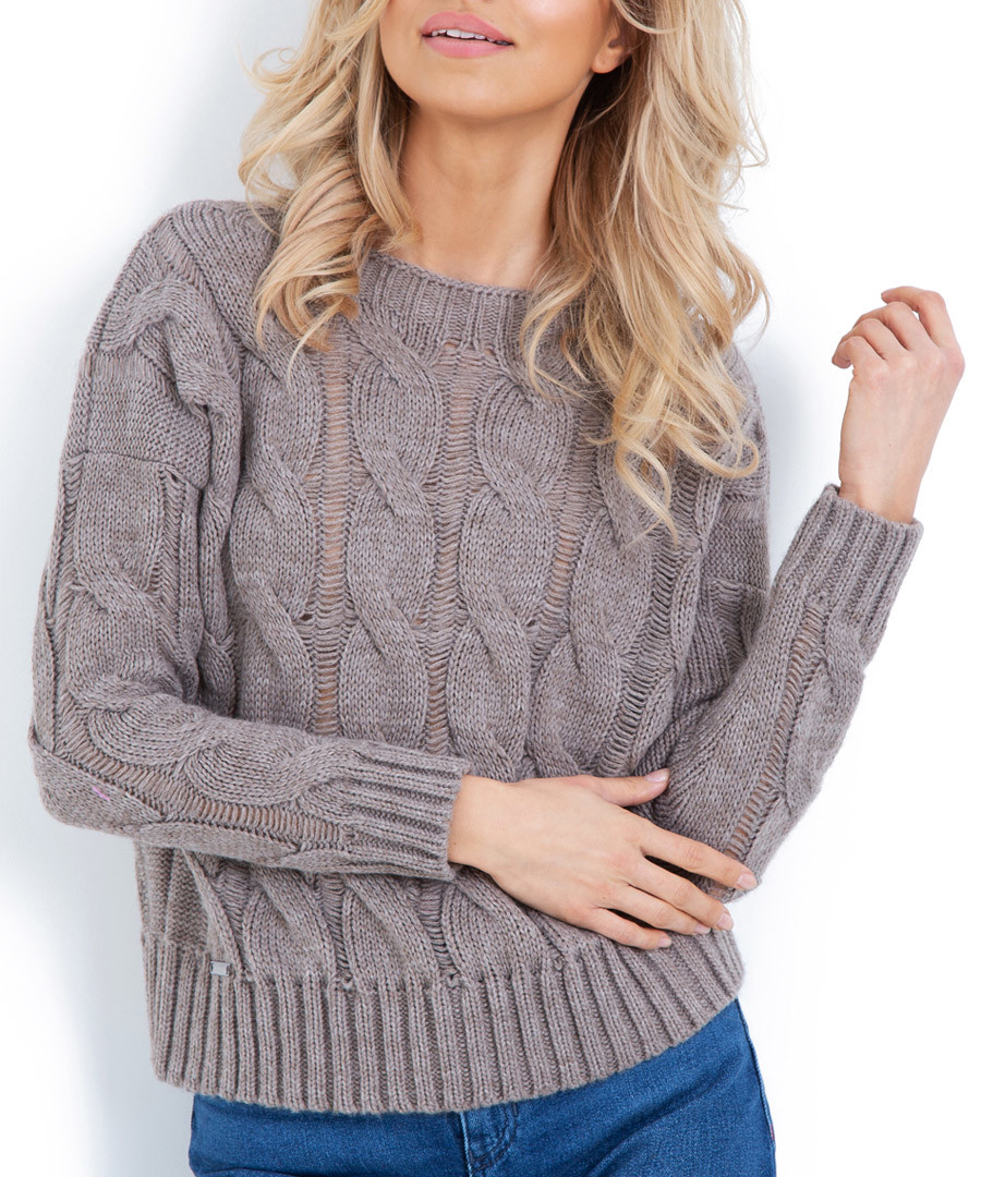 Latte wool blend cable knit jumper Sale - fobya