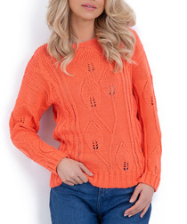 Coral wool blend stem knit jumper