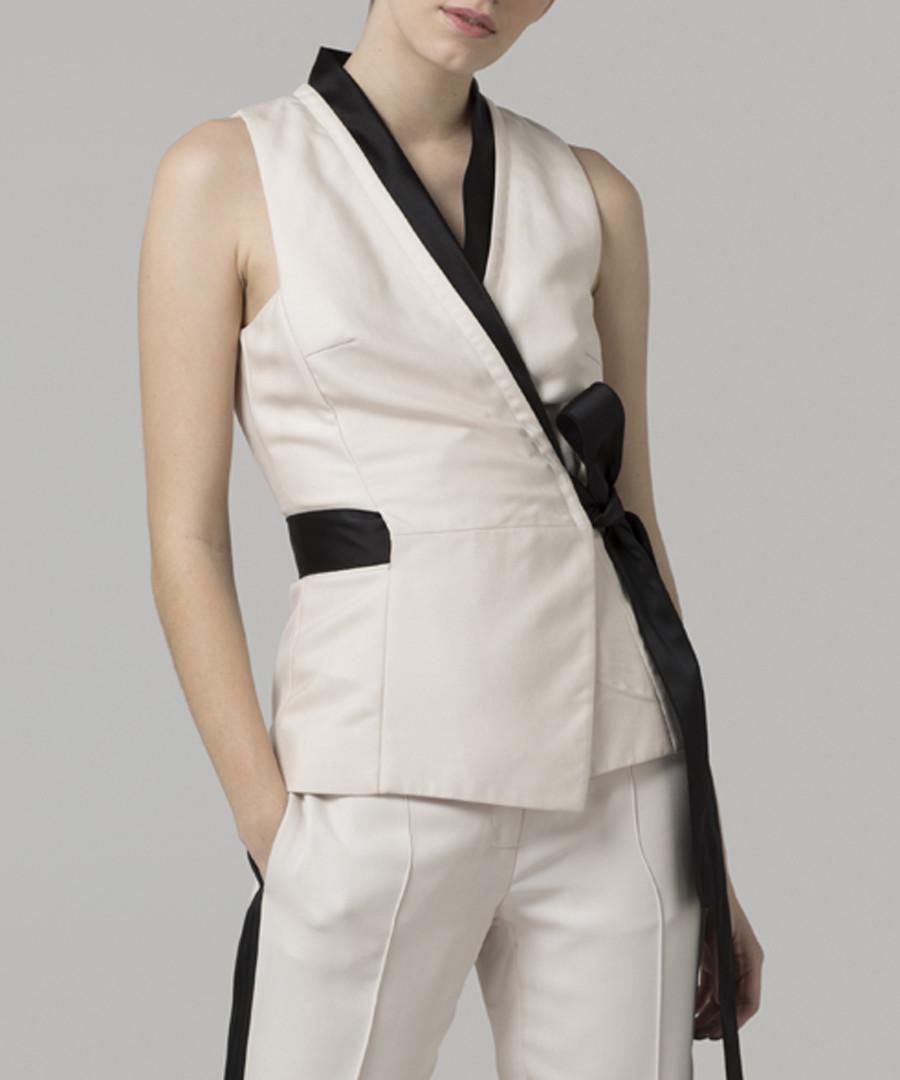 Cream sleeveless wrap top Sale - amanda wakeley