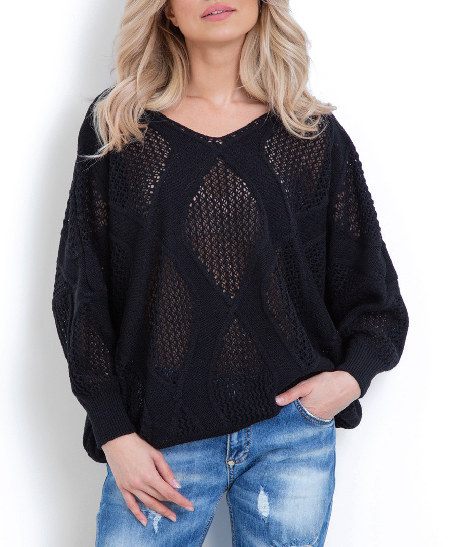 Black large diamond knit jumper Sale - fobya
