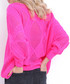 Hot pink large diamond knit jumper Sale - fobya Sale