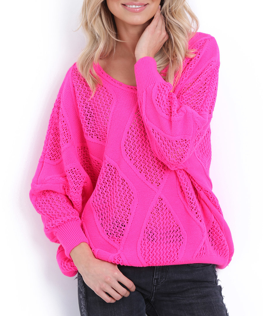 Hot pink large diamond knit jumper Sale - fobya