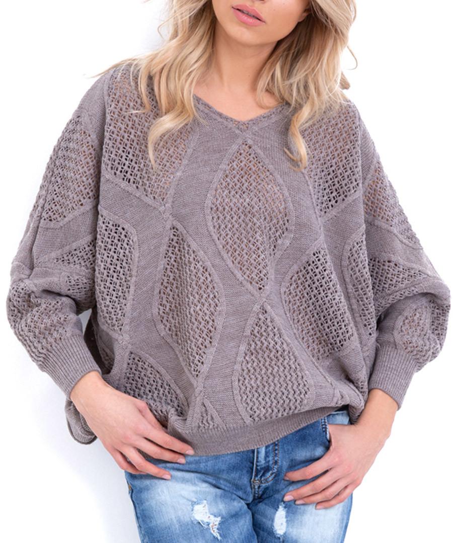 Latte large diamond knit jumper Sale - fobya